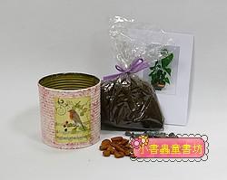 愛心樹(水黃皮)種子材料包+手工彩繪馬口鐵罐(白+粉